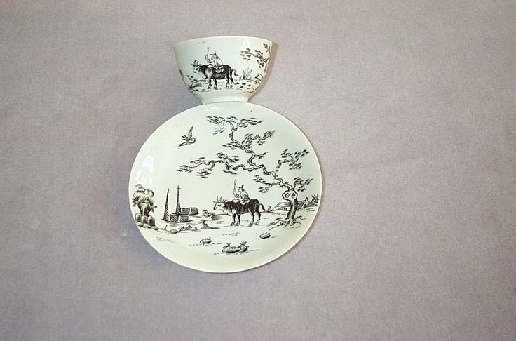 "A finely potted Worcester tea bowl and saucer pencilled in black with the "" Boy on a buffalo"" pattern  Unmarked    Circa   1758"