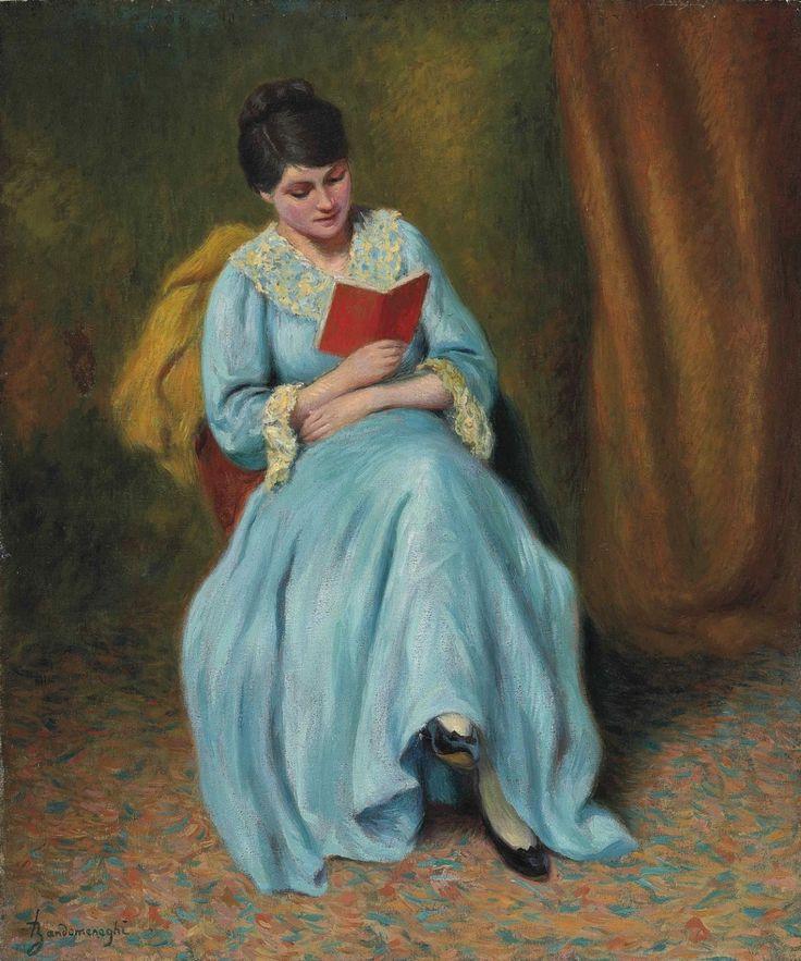 Femme en bleu qui lit. Federico Zandomeneghi (Italian, 1841-1917). Oil on canvas