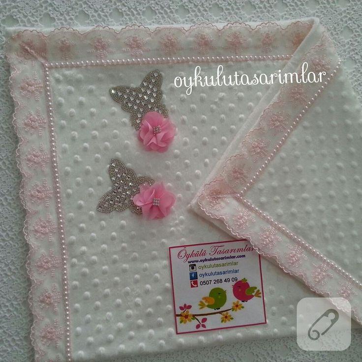 kız bebekler için toz pembe dantelli, kristal kelebek taş süslemeli bebek battaniyesi modeli gibi daha pek çok el yapımı bebek hediyeliği ve doğum aksesuarı 10marifet.org'da