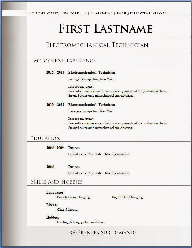 Resume Formats Word Resume Example Free Download Resume Templates