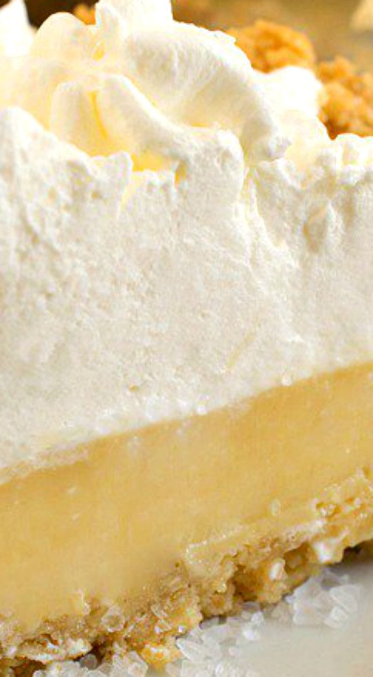 Atlantic Beach Pie ~ A uniquely delicious lemony custard pie, topped with whipped cream in a saltine cracker crust... A perfect salty-sweet dessert!
