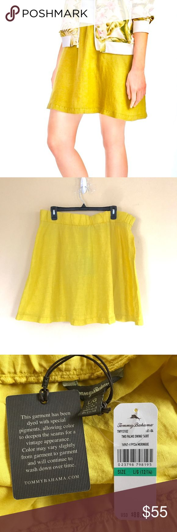"Tommy Bahama 100% Linen Two Palms Swing Skirt NWT New with tags Tommy Bahama Two Palms Swing Skirt 100% Cotton Gorgeous bright yellow color! ""Lemon merengue"" Perfect for the summer! Take it on a tropical vacation, wear as boat attire, dress it up or down. Very versatile. Size Large  Check out my closet for bundles! Tommy Bahama Skirts Mini"