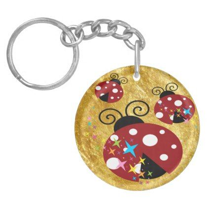 Three red and black ladybug with stars keychain - foil leaf gift idea special template