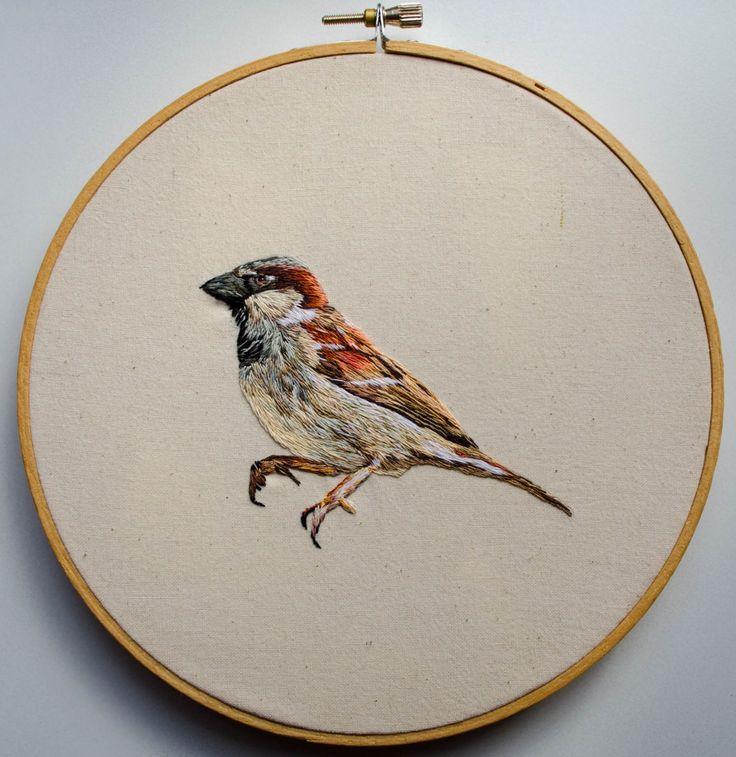 Gorrión (hand embroidery)