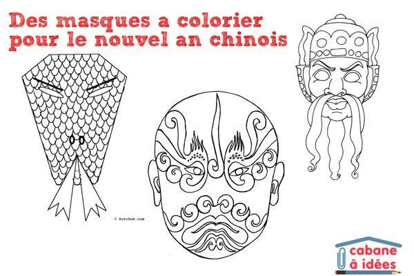 Des masques à colorier pour le nouvel an chinois | La cabane à idées