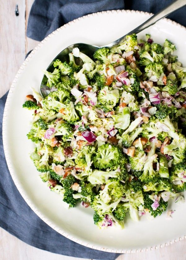 This salad is based on a recipefrom Ripe, A Fresh Batch. I love almonds in mine and also the addition of finely chopped bacon.