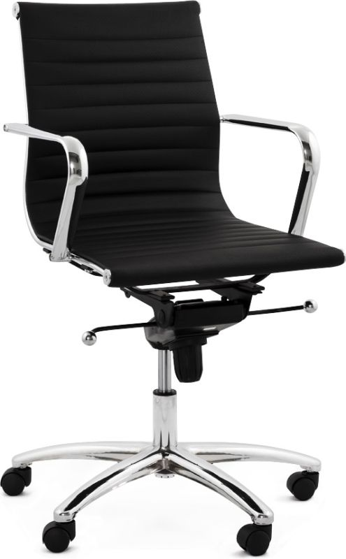 Gezien op Beslist.nl: Design bureaustoel 'MEGA' in zwart kunstleder