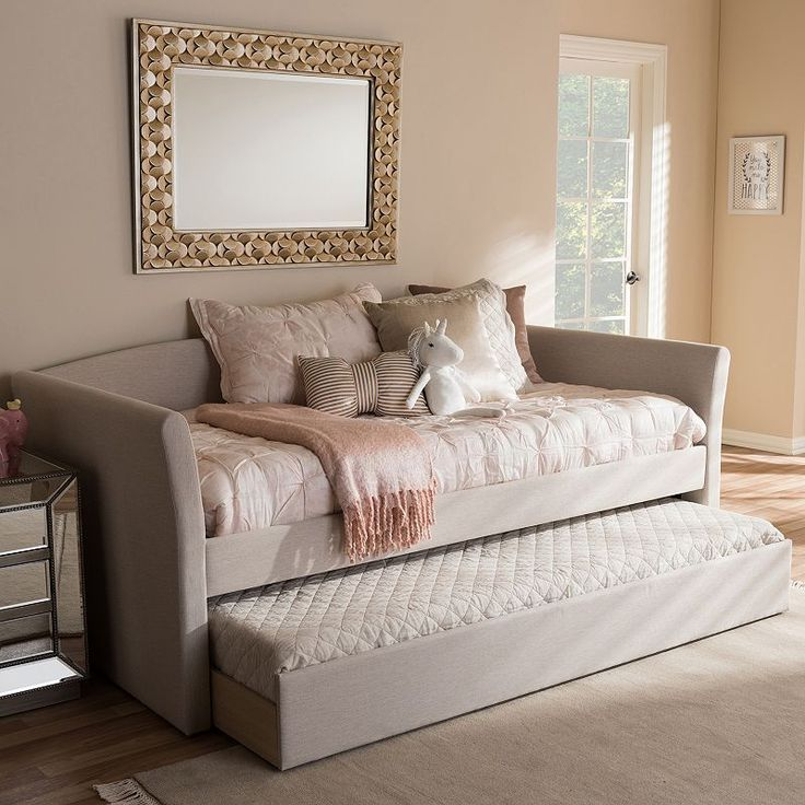 Baxton Studio Camino Contemporary Daybed & Trundle, Lt Beige