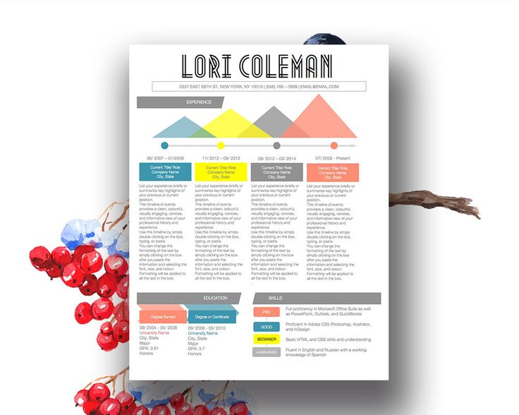 9 best Colorful Infographic Resume Template images on Pinterest - infographic resume creator
