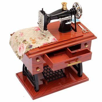 Lockwork do Vintage máquina de costura Music Box Sartorius pedal brinquedo do miúdo brinquedos Retro casa decoração presente de aniversário
