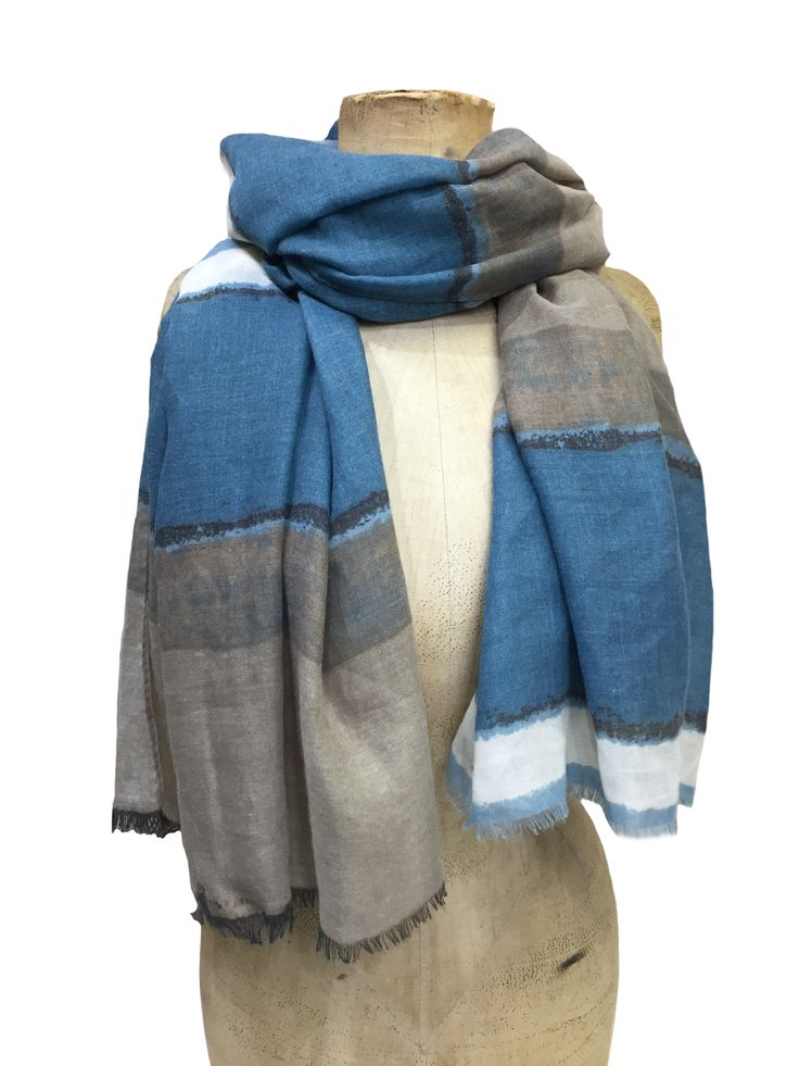 Caroline - scarf – large stripe blue multi 100% viscose 90x170cm #beautifulblues #scarf #accessories #onebutton #hemandedge Click to buy from the One Button shop.
