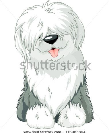 stock vector : Illustration of sitting funny Old English Sheepdog