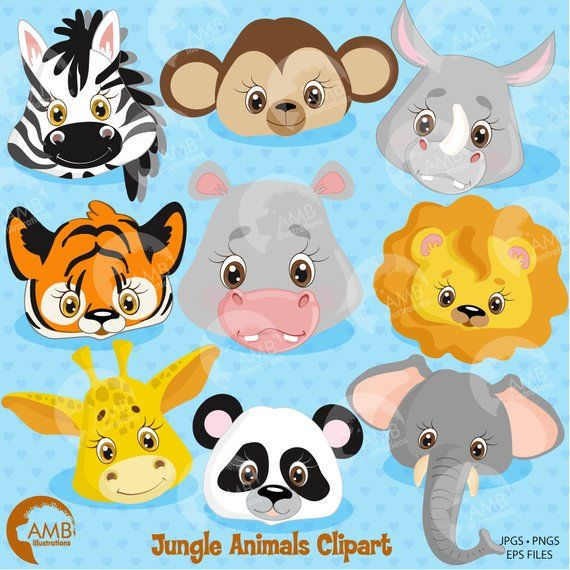 Jungle Animals Clipart Animal Clipart Jungle Animal Faces Lion Tiger Rhino Zebra Hippo Giraffe Monkey Commercial Amb 273 Animal Clipart Clip Art Animal Faces