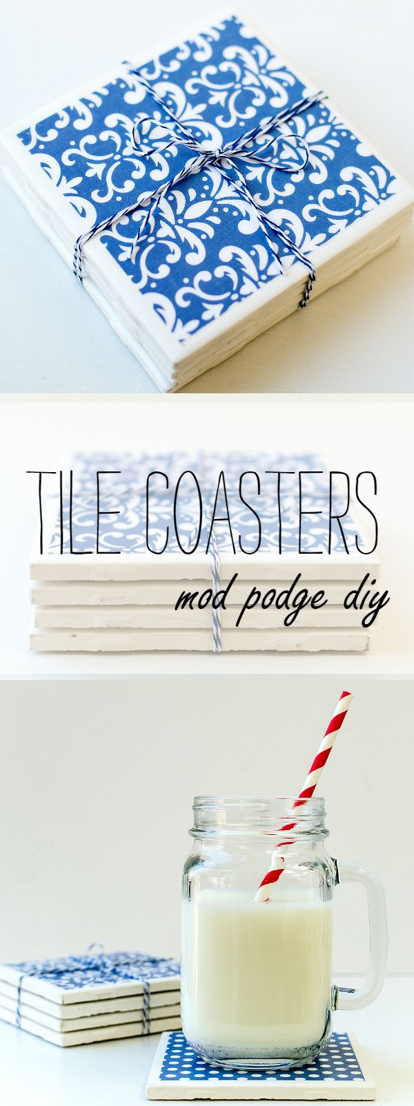 Tile Coaster DIY Project - diy coaster ideas using tiles and Mod Podge
