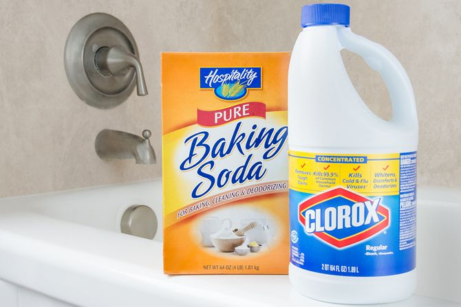 Combine bleach and baking soda to form a paste, then use an old toothbrush to apply the paste to dirty grout. Let the bleach and baking soda mixture work its magic for 5-10 minutes. Scrub a bit more with the toothbrush, wait 5 more minutes, then rinse!