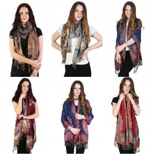 "Paisley Print Pashmina Fashion Scarf Fringe Edges Lightweight 74"" X 28"" NWT #NorthSouth #Scarf"