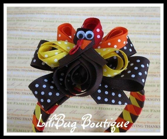 thanksgiving: Cute Headbands, Turkey Headbands, Woven Headbands, Hairbows Ideas, Thanksgiving Hair Bows, Ribbons Turkey, Head Band, Bows And Headbands, Thanksgiving Headbands