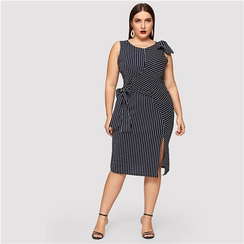 Plus Size Navy Striped Bow Waist Split Dress Women Clothing Summer Sleeveless Straight Party Midi Dresses Color Blue Size L