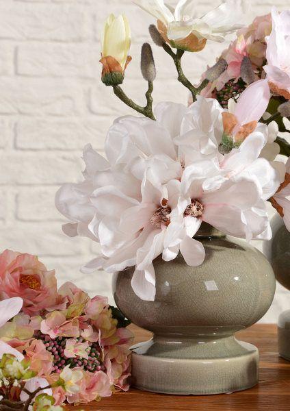 Ceramic vase & magnolia flower