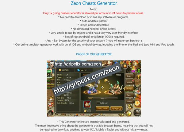 Zeon online Generator is an online tool that will help you to generate Cash and Diamonds on your iOS - Android device! Our (group) team just created the Generator Resources that will help you to get Cash and Diamonds in no time. This game is pretty fun,...