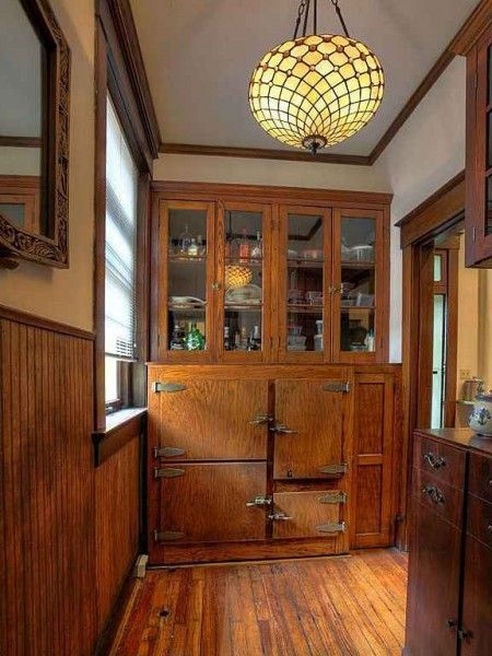 Kitchen Pantries For Sale Microwave Cabinet Built-in Icebox In The Butler's Pantry. | Vintage Kitchens ...