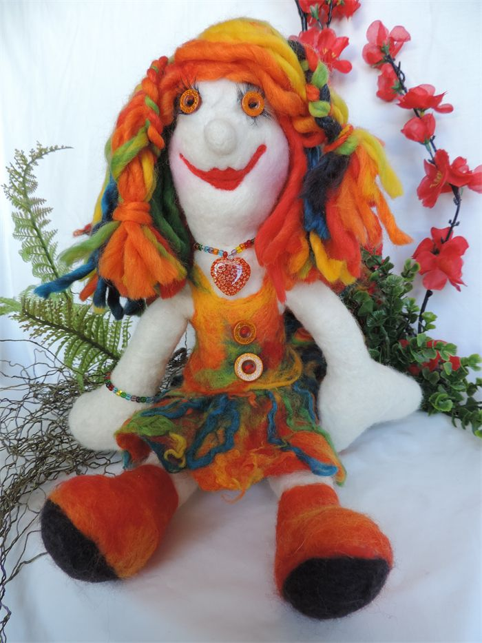 Rag doll Fairy, felted soft wool. Orange, red Autumn colours by NomesB Cre8tions