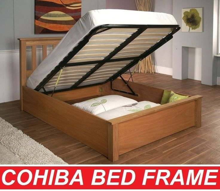 COHIBA DOUBLE QUEEN KING SIZE NATURAL SOLID OAK WOOD WOODEN GAS LIFT BED FRAME