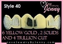 Real Yellow Gold Teeth Grills Grillz Custom fit 6pc Style 40