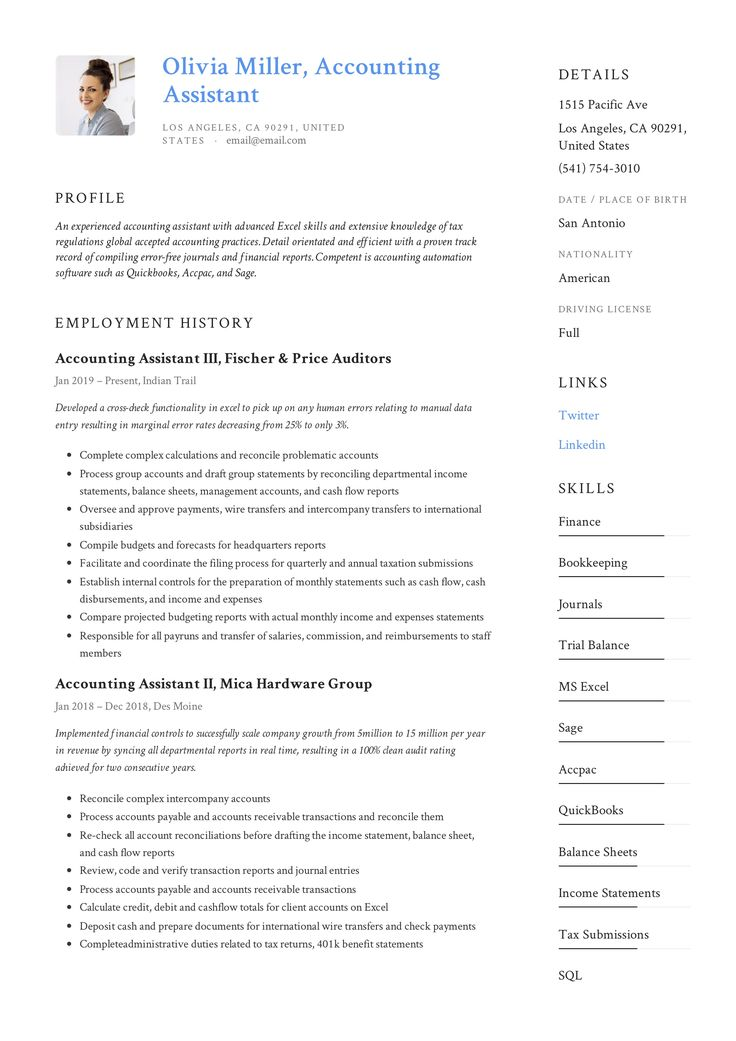 Accounting Assistant Resume & Writing Guide in 2020