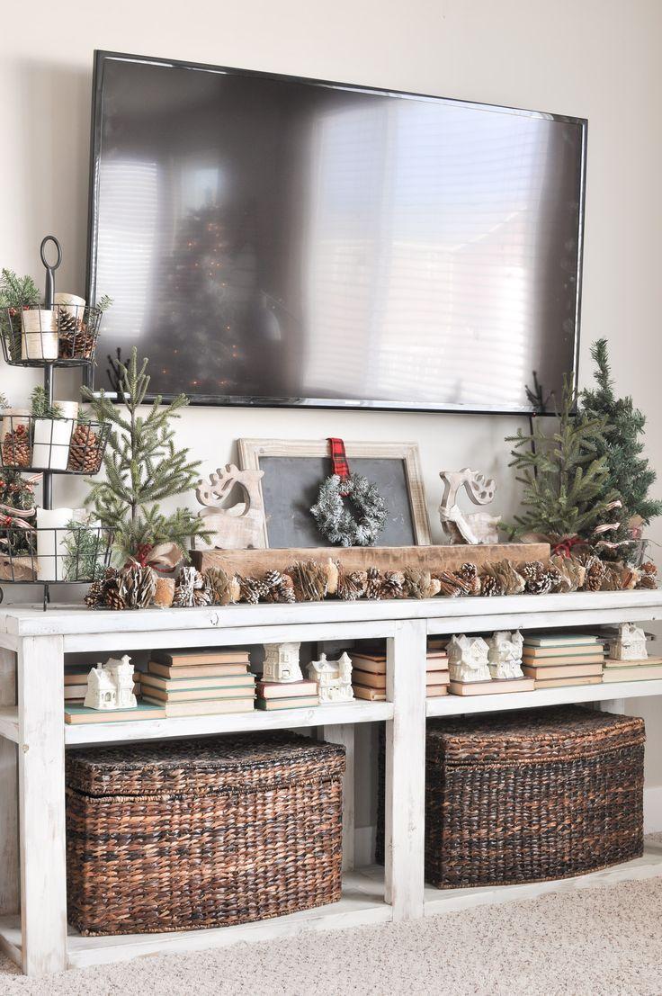 Home decor ideas for living room pinterest - Neutral Christmas Living Room Tour