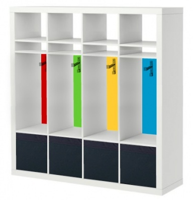 Expedit Hack Idea for Locker storage for the entrance; there needs to be a place for stuff the kids bring.