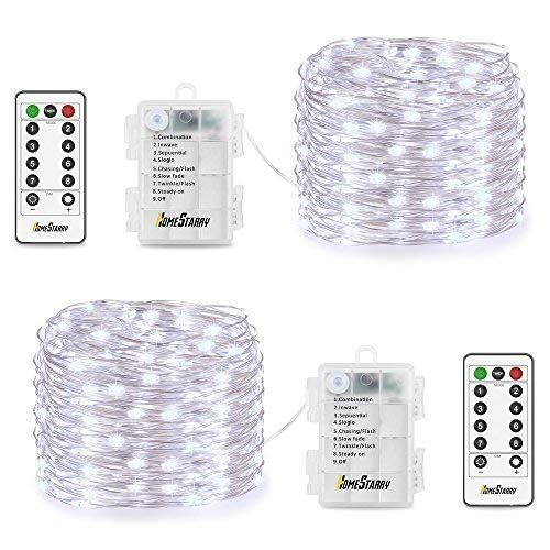 2 Pack String Lights Battery Operated 66 LED 164FT Silver Wire 8