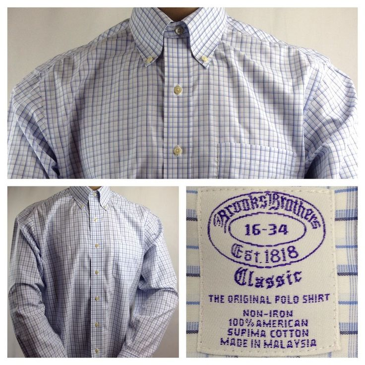 Brooks Brothers Men's Polo Dress Shirt Classic Fit Non-Iron Button Up Size 16   #BrooksBrothers #mensshirts