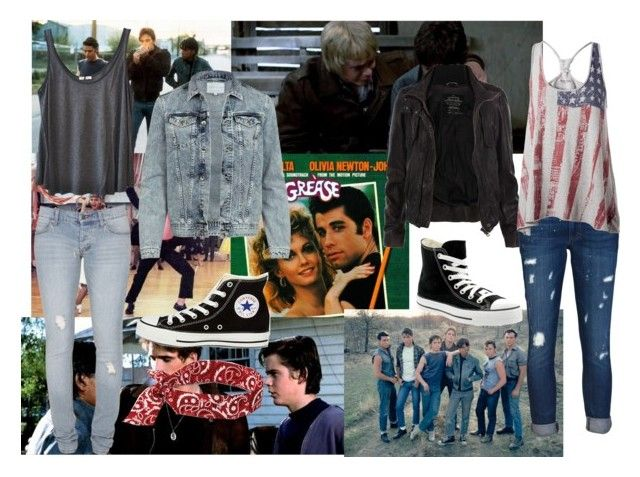 """""""Greasers"""" by adventuretime96 ❤ liked on Polyvore featuring Shae, AllSaints, Cheap Monday, American Vintage, River Island, Converse, Ergodyne, Siwy, Tommy Hilfiger and the outsiders"""