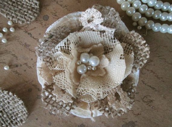 Burlap and lace. Yummy! :)