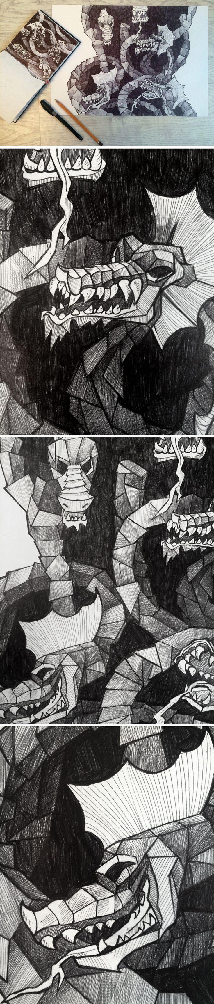 Графика на тему подвигов Геракла, подвиг 2 - убийство Лернейской гидры. Гелевая ручка. The graphics on the theme of the labors of Hercules , a feat 2 - Kill Lernaean hydra . #art #graphics #hydra #myth #drawing
