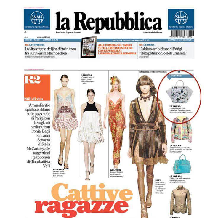 #LEDemotionDesign on la la Repubblica magazine! #hanbags #bags #fashionweek #MFW