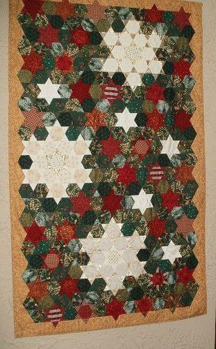Christmas Snowflake Hexie diamonds hanging quilt - Christmas 2014 Decor