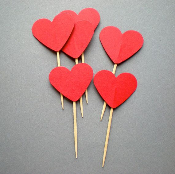 Red Love Hearted Toppers for Weddings and Saint by decoraland, €4.99