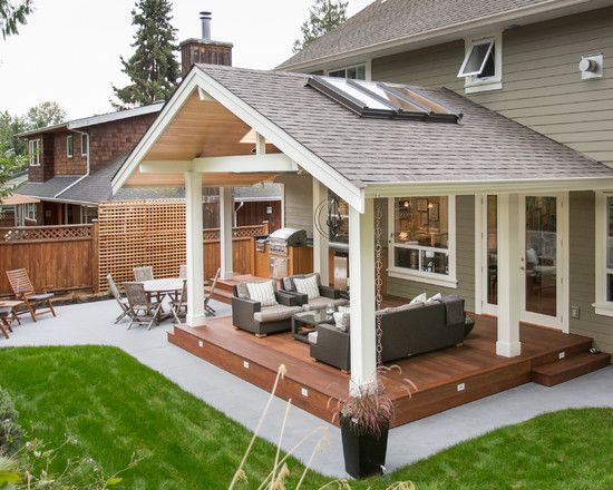 Outdoor Kitchen In A Transitional Style By Synthesis Design House Ideas Covered Patio Backyard
