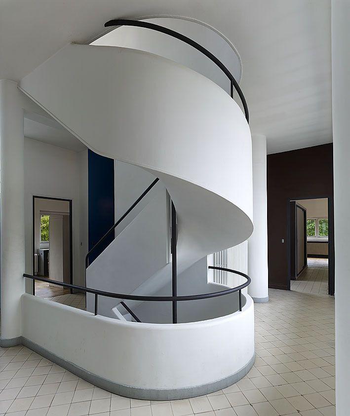 a staircase at the villa savoye poissy france 1928 by. Black Bedroom Furniture Sets. Home Design Ideas