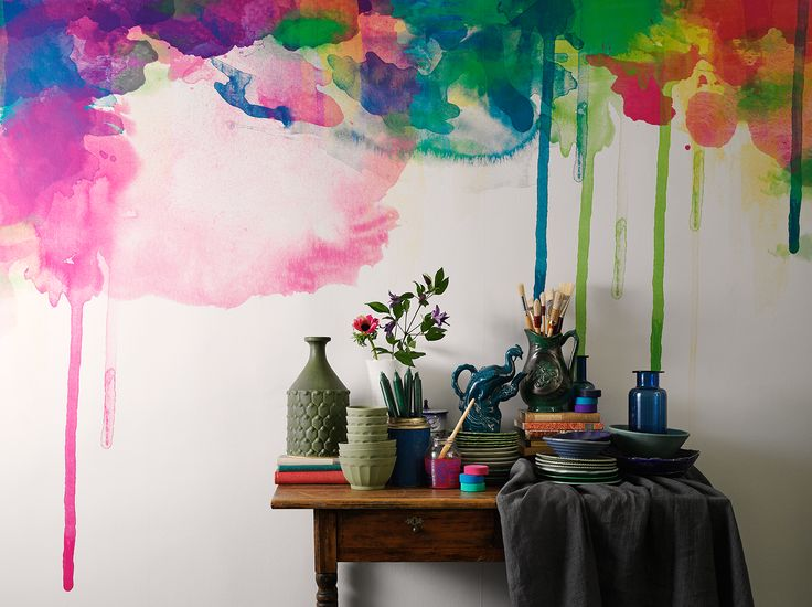 Interior Wall photographed by Henrik Bonnevier for Agent Bauer. I wonder how many assistants it took to paint this wall. Gorgeous drip watercolor effect.