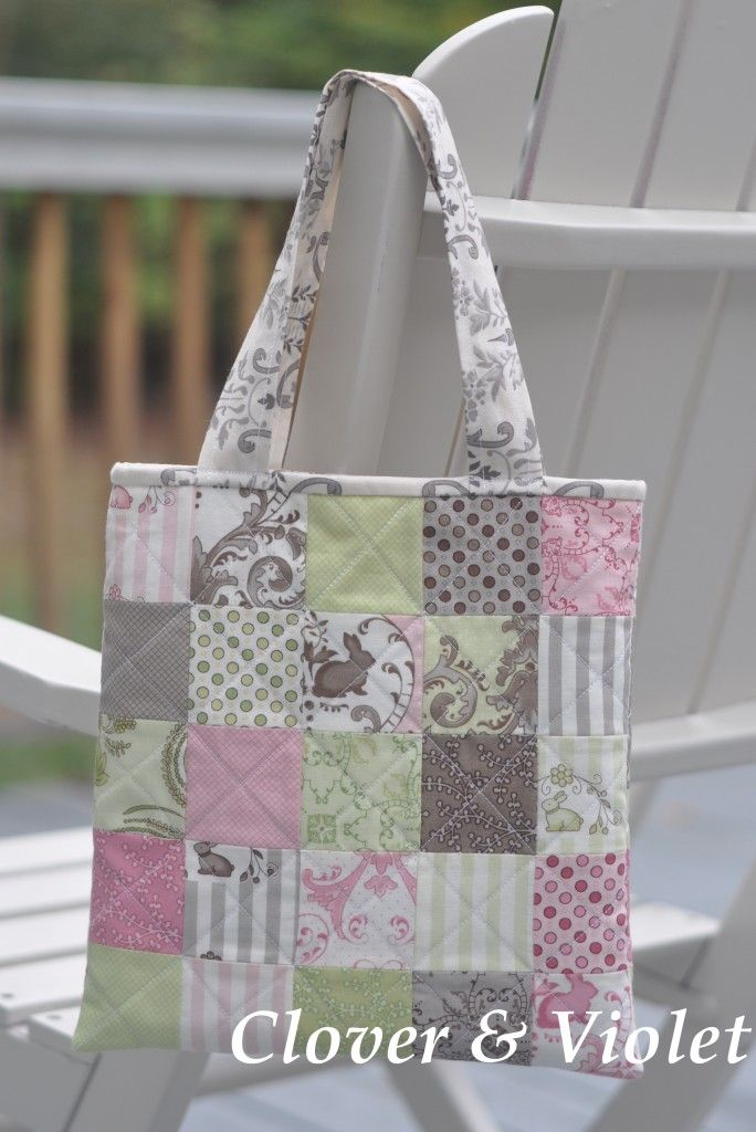 "Book Bag, using 25  ""2 1/2 squares"", (each side) 1/2 yd. fabric (lining), 1/2 yard fusible fleece, handles/binding"