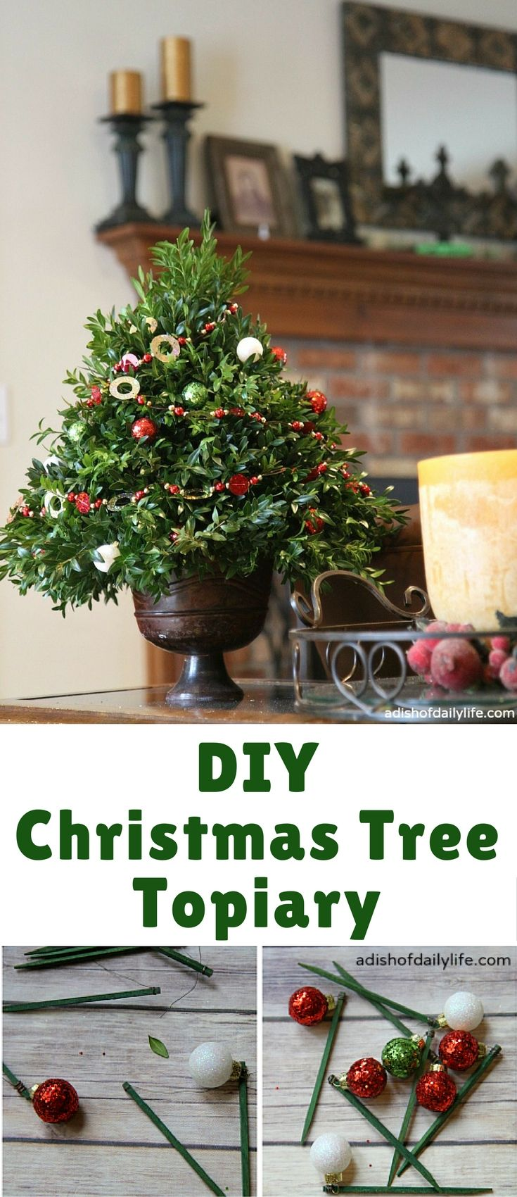 This festive DIY Christmas Tree Topiary is perfect as a hostess gift ...
