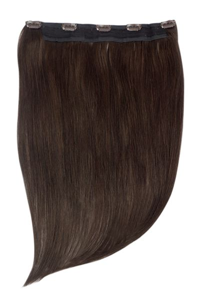15 Inch Quad Wefted Remy Clip in Human Hair Extensions – Darkest Brown (#2)