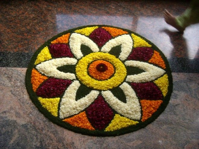 Flower Rangoli inside house!