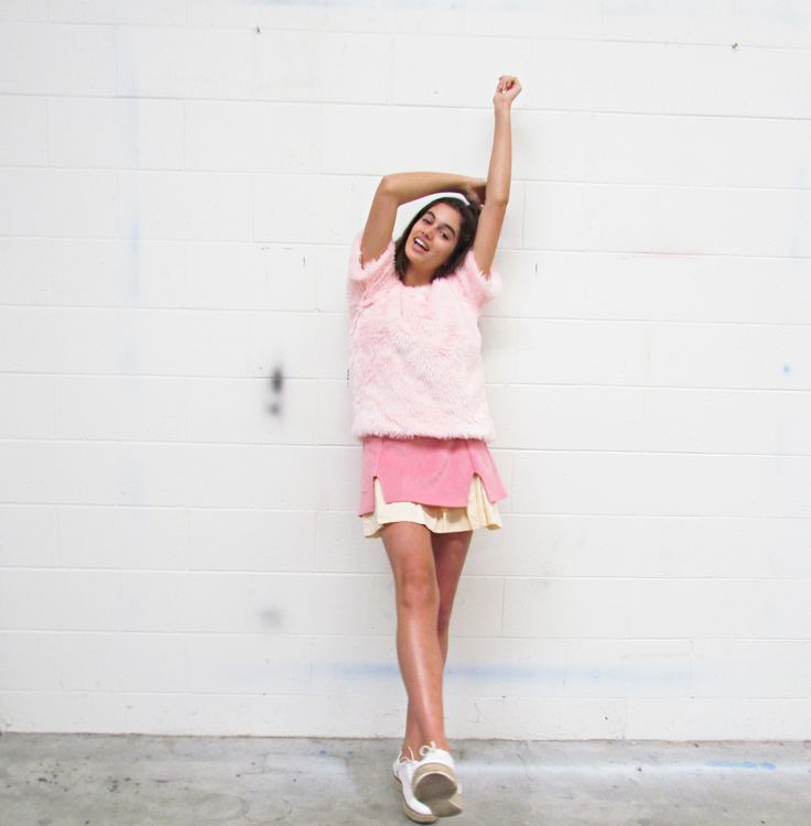 Maia Cotton wearing the Furby Tee and Sundae Skirt