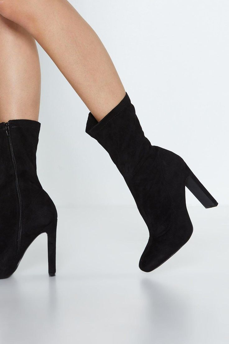 Faux Suede Life High Ankle Boot