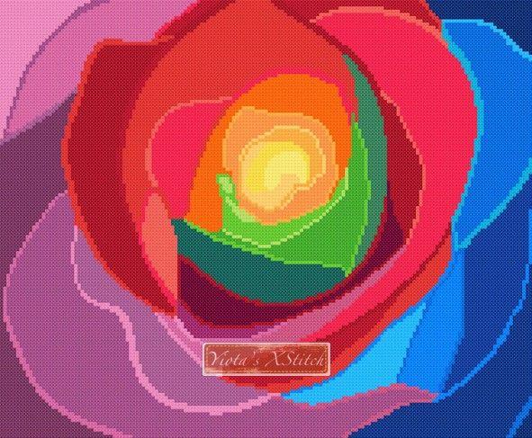 Rainbow rose cross stitch kit
