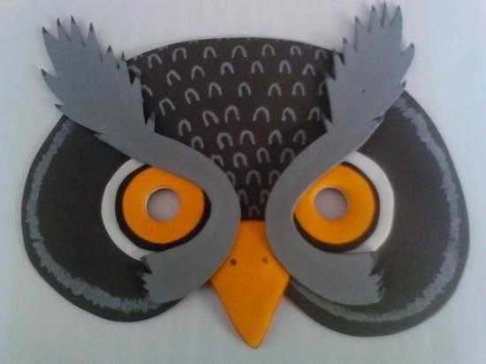 Máscara buho de foami para niños, en tonos de gris, foam owl mask ...